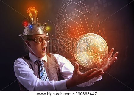 Distraught Looking Conspiracy Believer In Suit With Aluminum Foil Head With Chrono Logic Cryotocurre
