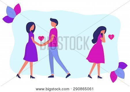 Treason, A Man In A Relationship With Another Woman. Love Triangle. The Girl Is Crying. Flat Vector