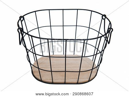 Basket Made With Metal And Wood Isolated On White Background
