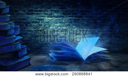 An Open Book With A Magical Fantasy. Night View Illustration With A Book. The Magical Power Of Readi
