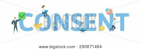 Consent. Concept With People, Letters And Icons. Flat Vector Illustration. Isolated On White Backgro