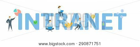 Intranet. Concept With People, Letters And Icons. Flat Vector Illustration. Isolated On White Backgr