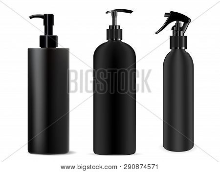 Bottle Black Spray. Cosmetic Dispenser Mockup Plastic Container. Realistic Clear Packaging For Lotio