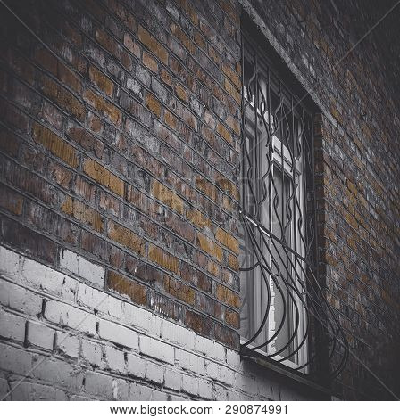 Fragment Of The Old Building. Old Brick Wall With A Window. Very Old Building And Window. Window Wit