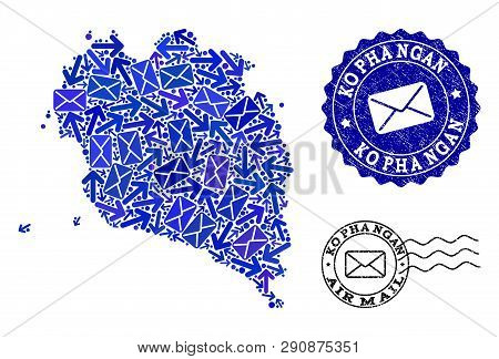 Mail Composition Of Blue Mosaic Map Of Ko Pha Ngan And Rubber Stamp Seals. Vector Seals With Unclean
