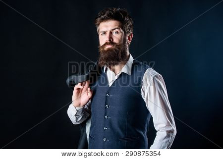 Custom Made Suit. Man Bearded Hipster Wear Formal Suit With Shirt Vest And Jacket. Elegant Custom Ou