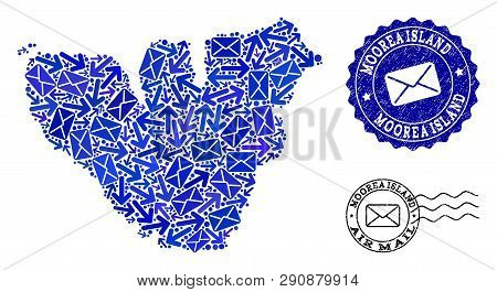Mail Combination Of Blue Mosaic Map Of Moorea Island And Scratched Stamp Seals. Vector Imprints With
