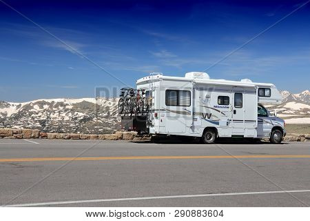 Rocky Mountains, Usa - June 19, 2013: Rv Motorhome Parked Along Trail Ridge Road In Rocky Mountain N