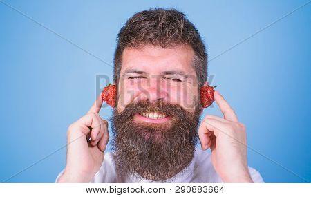 Summer Hit Concept. Man Bearded Hipster Red Ripe Strawberry Ears As Headphones. Hipster Beard Listen