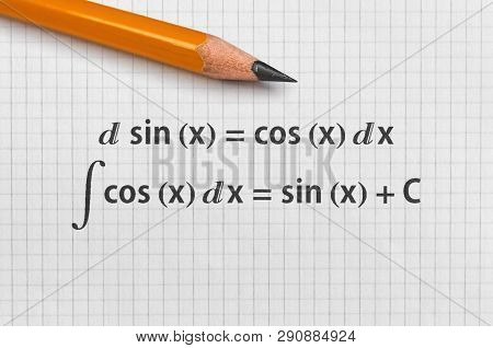 Example of differential and indefinite integral of basic trigonometric functions poster