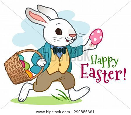Easter Bunny Rabbit In Jacket, Vest And Pants, Happily Running Along, Carrying Basket Full Of Colorf