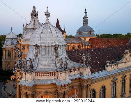 Budapest, Hungary June, 2017: Medieval Gothic Renaissance Castle Vajdahunyad At Sunset In Budapest.