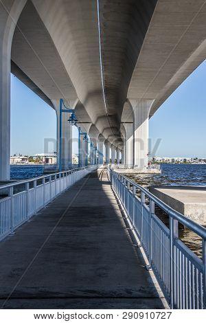 Bridge Above The Pedestrian Walkway In Stuart, Florida