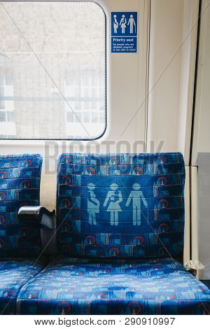 London, Uk - March 16, 2019: Seat For Concessions And Less Abled Passengers Inside London Undergroun