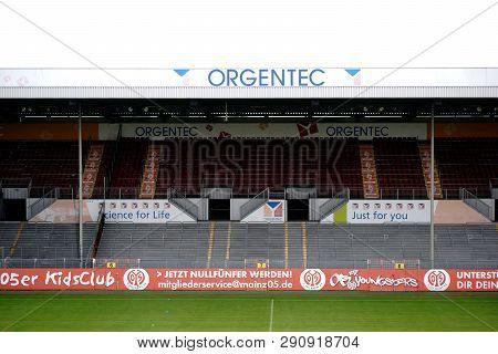 Mainz, Germany - August 26: A Grandstand In Bruchweg Stadiumof The Football Club 1. Fsv Mainz 05 Wit