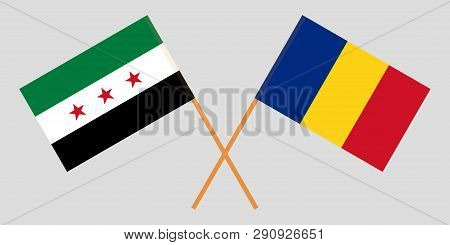 Romania And Syrian National Coalition. The Syria Opposition And Romanian Flags. Official Proportion.