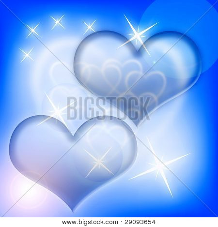 Hearts  background  on blue