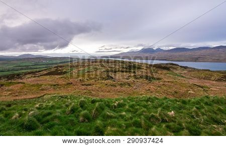 View Of Upland Fields, Barren Landscapes, The Ocean, And Hills On The Island Of Jura, As Seen From T
