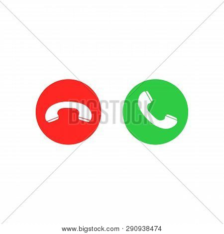 Phone Call Icons. Accept Call And Decline Button. Green And Red Buttons With Handset Silhouettes. Ve