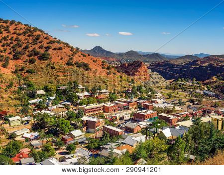 Town Of Bisbee With Surrounding Mule Mountains In Arizona. This Historic Mining Town Was Built Early