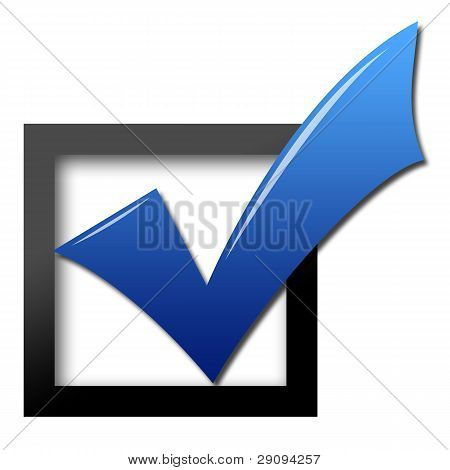 Blue shiny check mark for voting at frame black poster