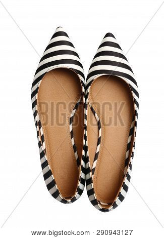 Stylish Female Flat Shoes On White Background, Top View