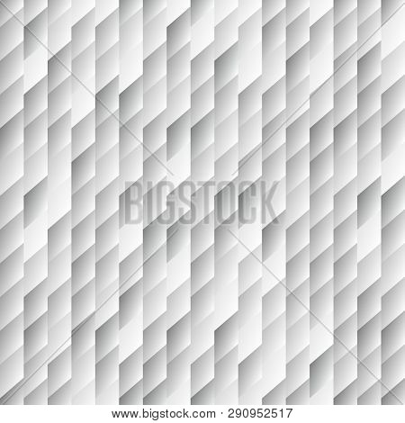Abstract Light Seamless Background Pattern With Rhomboids.vector 3d Graphic Illustration In Grayscal