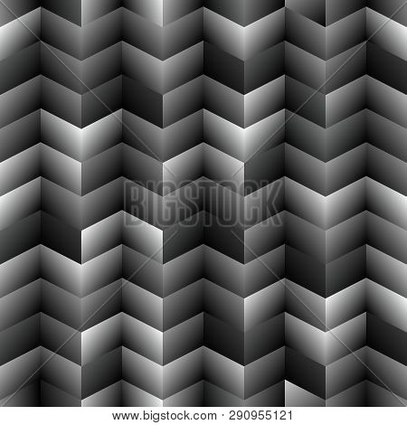 Abstract Dark Seamless Background Pattern With Rhomboids.vector 3d Graphic Illustration In Grayscale