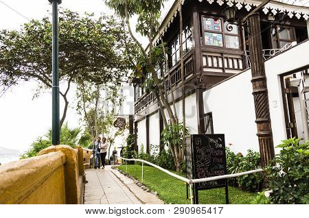Lima, Peru January 17th, 2019 : Restaurant Bar La Posada Del Mirador, Which Is A Forced Way To The V