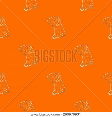 Brooding monkey pattern vector orange for any web design best poster