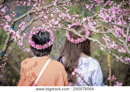 Chengdu, Sichuan Province, China - March 20, 2019: Two Chinese Girls With Flower Crown Among Peach B
