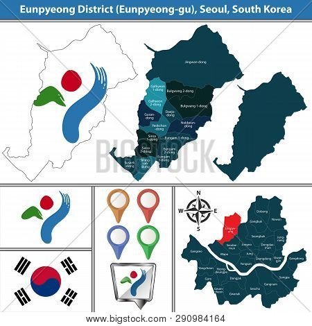 Vector map of Eunpyeong District or Gu of Seoul metropolitan city in South Korea with flags and icons poster