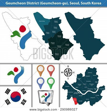 Vector map of Geumcheon District or Gu of Seoul metropolitan city in South Korea with flags and icons poster