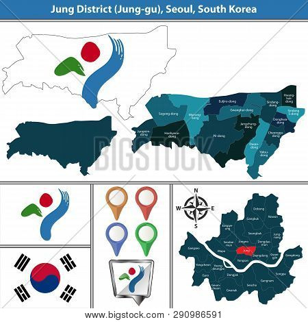 Vector Map Of Jung District Or Gu Of Seoul Metropolitan City In South Korea With Flags And Icons