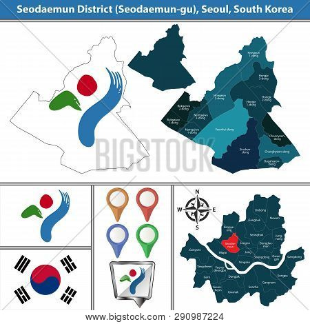 Vector Map Of Seodaemun District Or Gu Of Seoul Metropolitan City In South Korea With Flags And Icon