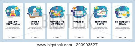 Mobile App Onboarding Screens. College And School Education Icons, Yearbook, Online Library, Thesis.