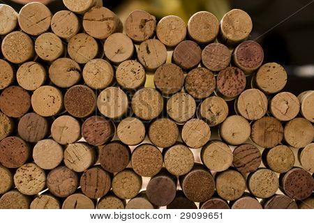 wine corks tops close-up