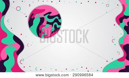 Dynamic Style Banner, Liquid Color Abstract Background Design With Place For Text.trendy Colors, Mot