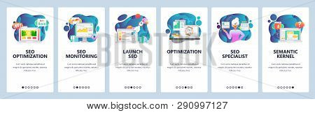 Mobile App Onboarding Screens. Digital Marketing And Seo Optimization, Traffic Analytics. Menu Vecto