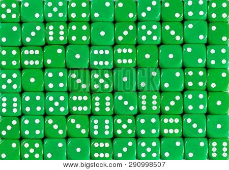 Pattern Background Of 70 Green Dices, Random Ordered