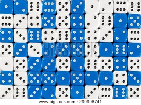 Pattern Background Of 70 Random Ordered White And Blue Dices