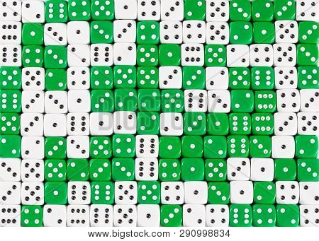 Pattern Background Of 140 Random Ordered White And Green Dices