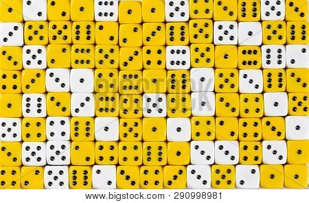 Pattern Background With Two-third Random Ordered Yellow Dices And One-third White Dices