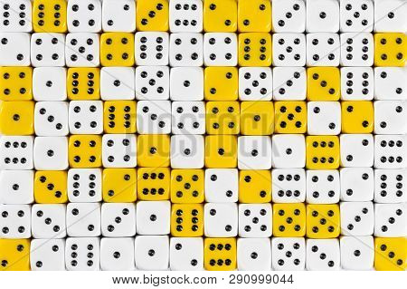 Pattern Background With Two-third Random Ordered White Dices And One-third Yellow Dices