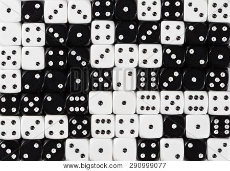 Pattern Background Of 70 Random Ordered Black And White Dices