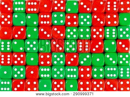 Yellowpattern Background Of 70 Random Ordered Red And Green Dices