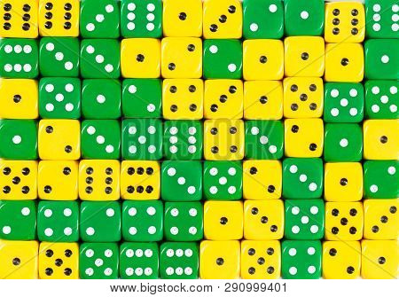 Yellowpattern Background Of 70 Random Ordered Yellow And Green Dices