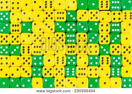 Pattern Background Of 140 Random Ordered Green And Yellow Dices