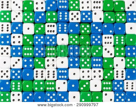 Pattern Background Of Random Ordered White, Blue And Green Dices