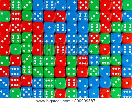 Pattern Background Of Random Ordered Red, Green And Blue Dices